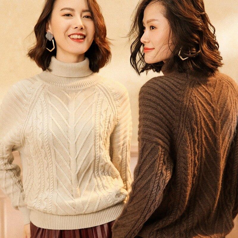 2018 vente laine ordinateur tricoté pull nouveau pull en cachemire femmes Double face torsadé col haut épais ensembles de lâche chaud