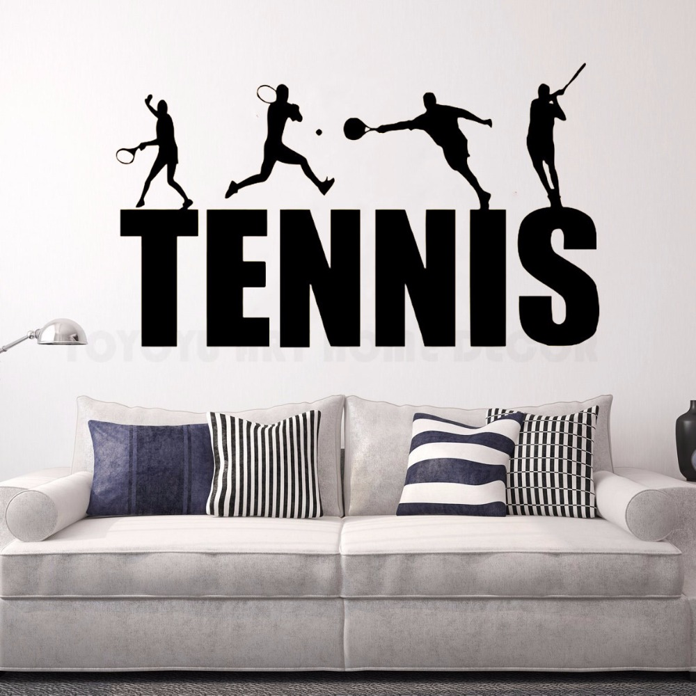 Some tennis player vinyl PVC wall sticker non-toxic wall art mural paper of boys room decoration