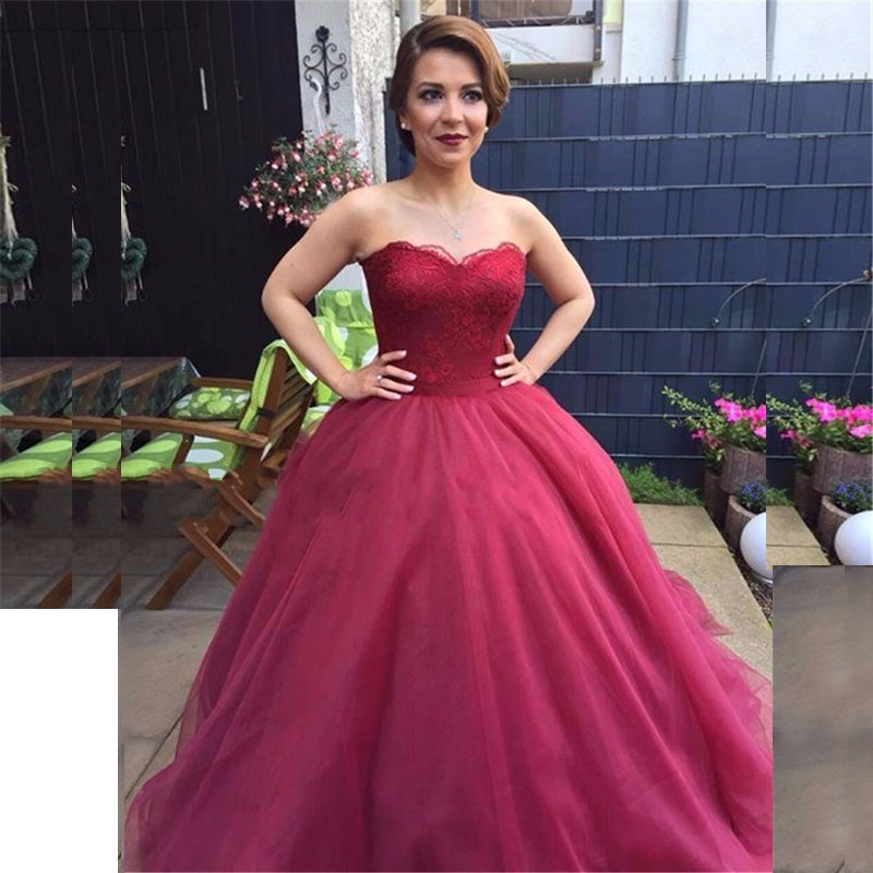 Simple Wedding Gowns 2017: 2017 Burgundy Ball Gown Organza Wedding Dresses Sweetheart