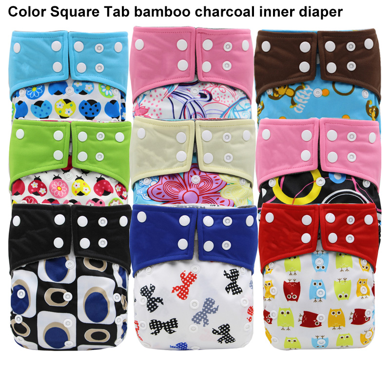 Reusable Waterproof Baby Cloth Diaper Nappy Bamboo Charcoal Inner Printed PUL Double Gussets Color Tab Wholesale Selling cute baby protable nappy reusable washable wet dry cloth zipper waterproof diaper storage bag random colors