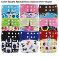 Reusable Waterproof Baby Cloth Diaper Nappy Bamboo Charcoal Inner Printed PUL Double Gussets Color Tab Wholesale Selling