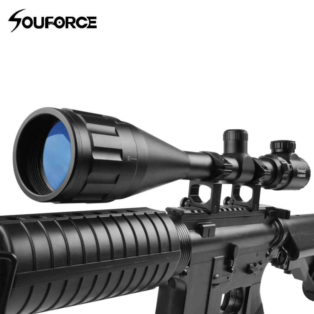 US Hunting 6-24X50 AOEG Green Red Mil Dot Illuminated Tactical Optics Riflescope With A Dust Cover For Shotgun Riflescopes