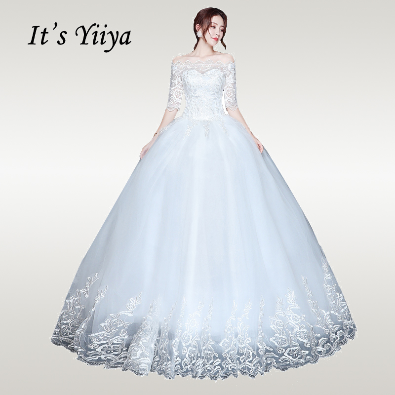 It's YiiYa Wedding Dress 2019 Full Lace Elegant White Half Seeve Weddding Dresses Boat Neck Plus Size Vestido De Novia XXN222
