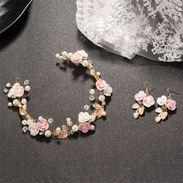 Fashion Women Crystal Baroque Pearl Hair Bands Golden Leaf Crown