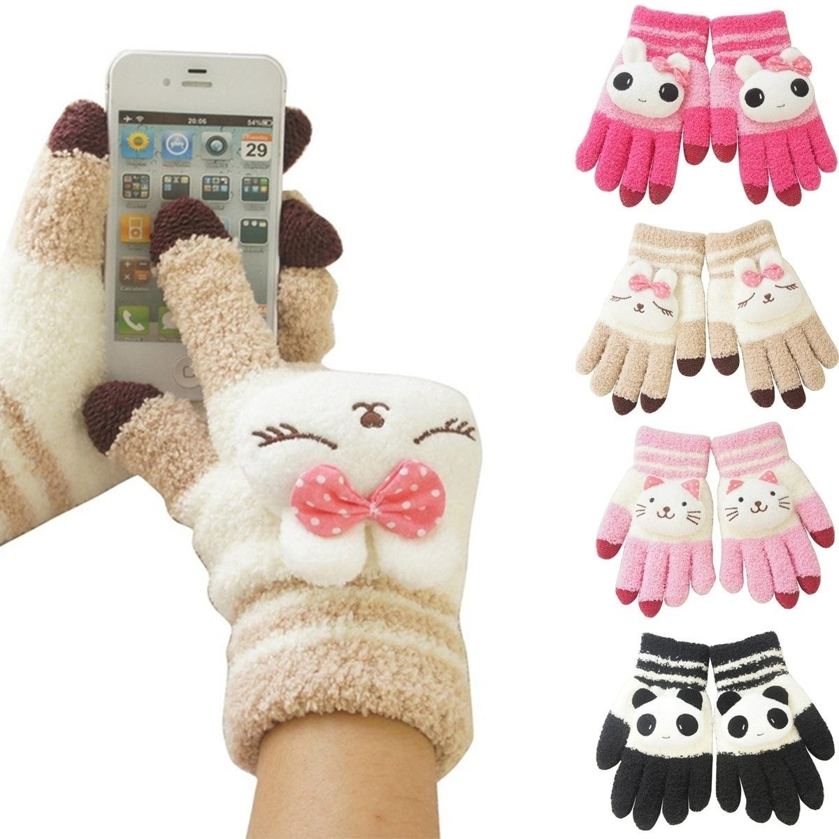 Girls Winter Cute Animal Touch Gloves