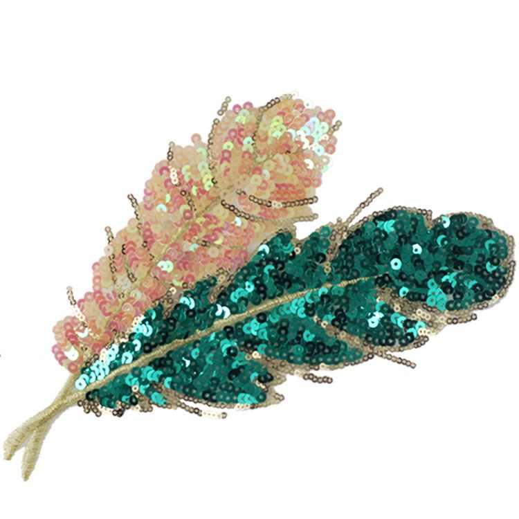 Lantejoulas Bordado Personalidade DIY verde esmeralda deixa Applique patches para vestuário decoração DIY Acessórios de costura remendo