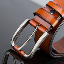 Fashion gentleman essential! Adult Men's Solid Matte Genuine Leather Belt,retro style of belt,Durable wear jeans strap 2colors