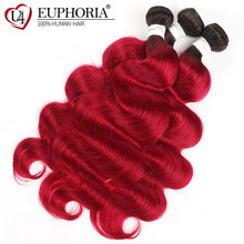 Brazilian Human Hair Weave Bundles Body Wave Ombre 2 Tone 99J/Burgundy Red Color 100% Remy Human Hair Weaving Euphoria Extension(China)