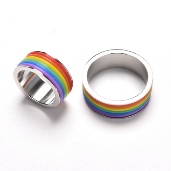 Hot Selling Titanium Steel Rainbow Rings Men and Women Stainless Steel Ring Personalized Rings Jewelry 1PCS