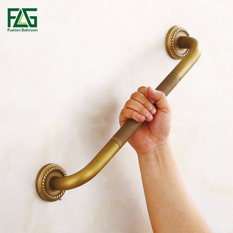 FLG Free Shipping Luxury Copper Bathroom Armrest Bathtub Safety Grab Bars Antique Towel  ...