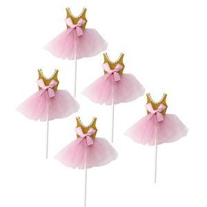 Image 1 - 5Pcs Bling Bling Ballerina Rock Tutus Kleid Kuchen Topper Party Cupcake Fahnen Kuchen Dekoration Obst Picks Für Thema Event a3