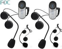 2 Шт. Марка FDC FM 1000 м Мотоциклетный Шлем Bluetooth Домофон Ж/LCD + Бесплатный наушники