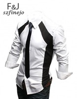 мужчины в свободного покроя роскошь стильный приталенный длинный рукав платье рубашки 3 размеры м L хl белый черный 3403