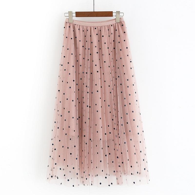 Women Polka Dot Tulle Skirt Korean Style Summer Elegant Stretch Waist Mesh Skirt Vintage Vacation Maxi Long Pleated Skirt