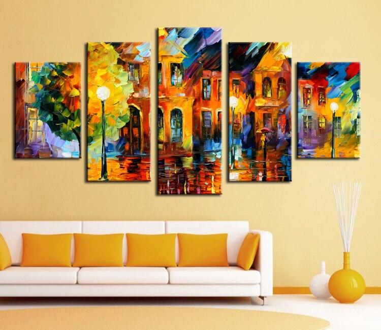 5 panel wall decor modern art set Beautiful city street scenery palette font b knife b