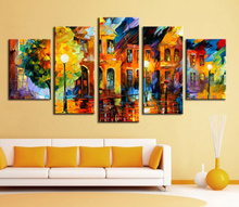 5 panel wall decor modern art set Beautiful city street scenery palette knife hand painted Oil carving knife Painting on Canvas