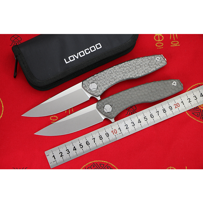 LOVOCOO new S.S.E. BKRSCKS D2 blade Titanium handle Flipper folding knife Outdoor camping hunting pocket knives EDC tools Gift quality tactical folding knife d2 blade g10 steel handle ball bearing flipper camping survival knife pocket knife tools