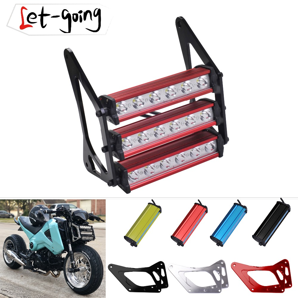 New Retro CG Led Motorcycle Front Fork Bracket MSX125 Headlight Universal For Honda Grom MSX125 125SF 2013-2016 Fog Lamp Light