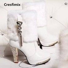 Cresfimix botas femininas moda feminina outono & inverno de salto alto botas de couro quente botas de senhora botas de rua ocasional pu c2658
