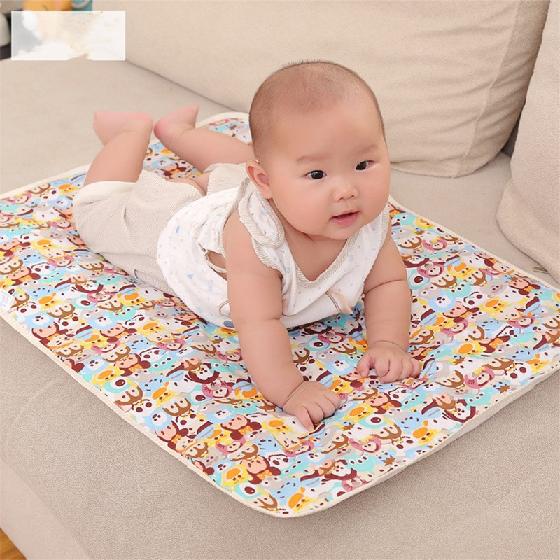 Newborn 30x45cm 100% Cotton Infant Baby EVA Waterproof Print Bed Nappy Changing Sheet Mat Cover Urine Pad Mattress