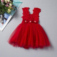 Tonlinker Baby Girls dresses Floral Summer Lace tulle bow Dress Kids Clothes Birthday Party Costume Tutu Children