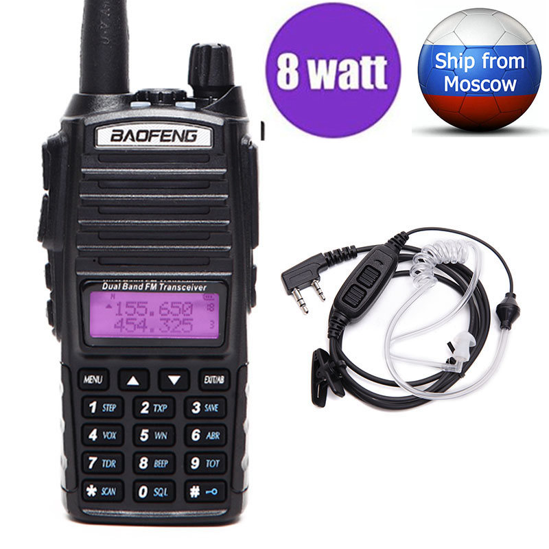 BAOFENG UV-82 Plus Vrai 8 w Haute Puissance VHF/UHF Dual Band Two Way Radio UV82 Plus Talkie Walkie avec 2-PTT Tube Acoustique Casque
