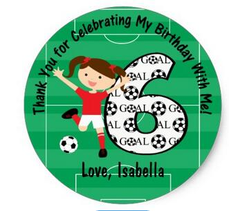 1.5inch 6th Birthday Thank You Red and White Soccer Girl Classic Round Sticker