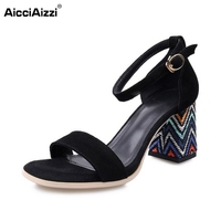 AicciAizzi Sexy Office Lady Bohemia Real Leather High Heel Sandals Ankle Strap Beading Thick Heel Sandals