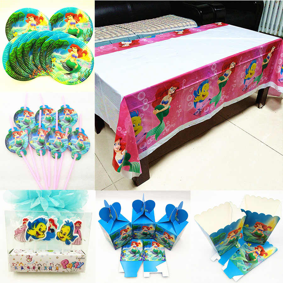 Mermaid Feestartikelen tafelkleed Cartoon Thema Candy Popcorn Doos Stro Plaat Kaars Gunsten Set Kids Verjaardagsfeestje Decoratie