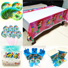 Mermaid Party Supplies Table cloth Cartoon Theme Candy Popcorn Box Straw Plate Candle Favors Set Kids Birthday Decoration