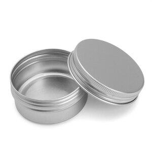 Пустые 24 шт., 50 г, металлические алюминиевые круглые жестяные банки, коробка, серебряная Косметическая баночка для крема, кастрюля, крышка с винтовой нитью, контейнер для бальзама для губ 55*29