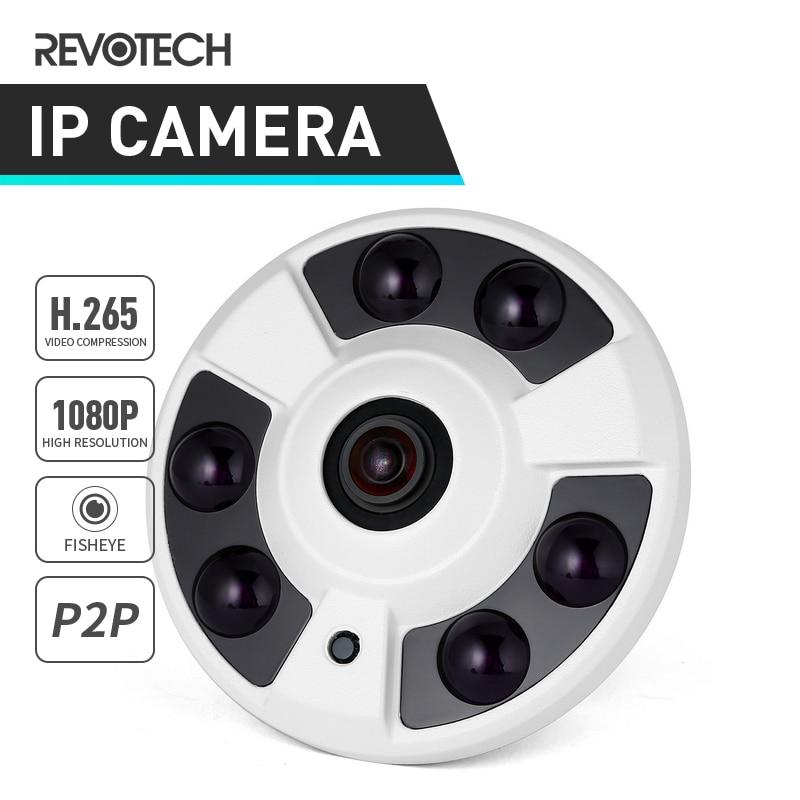 H 265 FHD 1920 x 1080P 2 0MP Panoramic Fisheye 6 Array LED IR IP Camera