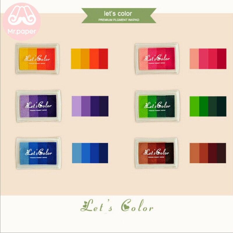 Mr Paper 6 Colors Gradual Change Colorful Short Inkpad Handmade DIY Craft Oil Based Inkpad Rubber Stamps Scrapbooking Inkpad 6