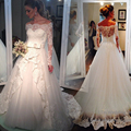 Lace Weding Dresses 2017 White Bateau Neck Sleeveless A Line With Belt Covered Button Back Court Train Tulle Bridal Gowns