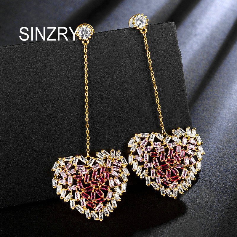 цена SINZRY 2018 cubic zirconia hollow pink heart dangle earrings trendy bright Korean stylish earrings for women