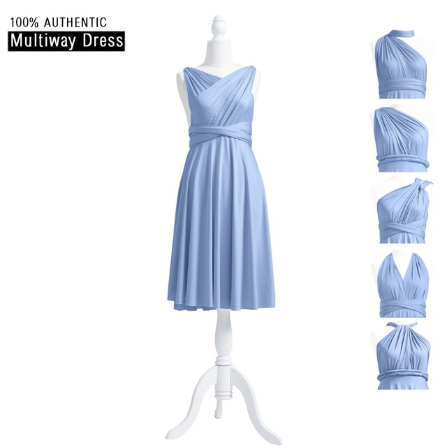 Dusty Blue Bridesmaid Dress Short Infinity Dress Convertible Multi Way Dress  Twist Wrap Dress With Cross Halter Styles 93a244faf449