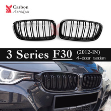 1pair ABS F30 F31 2- Slat grille Gloss Black Replacement Grille For BMW 3 Series F30  F31 2012+ 320i 325i 328i 335i Gloss Black 1 pair f30 car styling front grill style f31 kidney black replacement grille hood for bmw 3 series f30 f31 2012 2016 gloss black