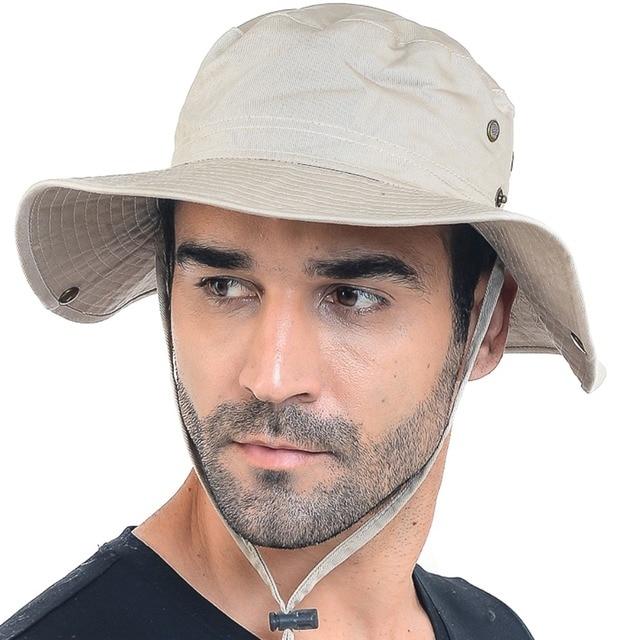 Mens 100% Cotton Bush Jungle Bucket Hat Hiking Fishman Australian Outdoor  Cap Sunhat FORBUSITE edacda29110