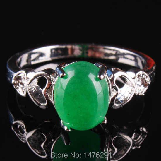 ใหม่เทียมสีเขียวJadesรีคริสตัลลูกปัดแหวนนิ้วอัญมณีขนาด7ของขวัญของผู้หญิง