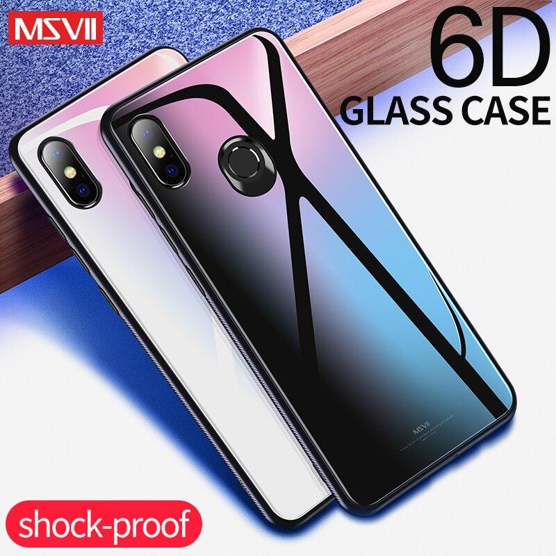 xiaomi mi 8 Case msvii luxury Silicone + Tempered glass Protective Back Cover coque for xiaomi mi 8 explorer mi8 SE phone Case