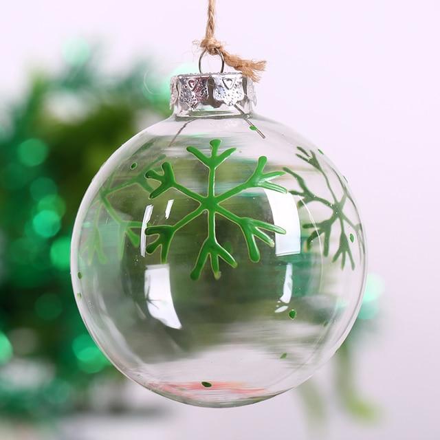 2bbee51aca6 Bola de cristal transparente rellenable DIY con adorno de árbol de Navidad  copo de nieve verde