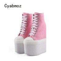 Cyabmoz Новый Для женщин увеличивающие рост пикантные туфли на высоком каблуке и платформе женские туфли лодочки Zapatos mujer Tenis feminino вечерние Дамс
