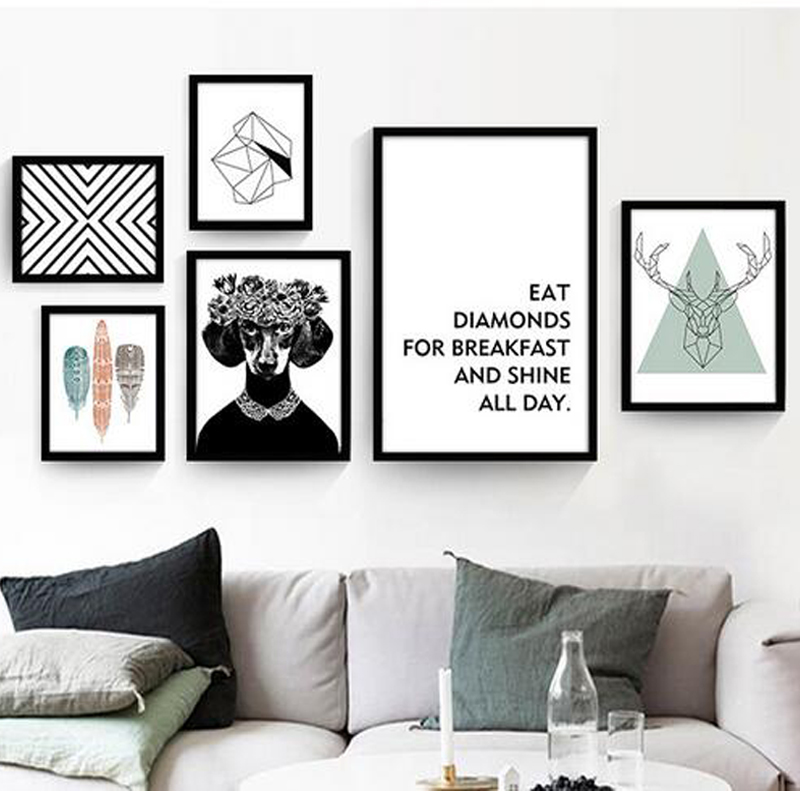 Severská dekorativní malba moderní obývací pokoj zeď plakát černá a bílá anglický abstraktní kreativní obraz obrazové plakáty