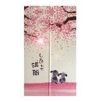 85x150cm Japanese Doorway Curtain Happy Dogs Cherry Blossom