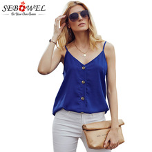 SEBOWEL 2019 Summer Sleeveless Button Design Camis Tank Tops Woman Basic Casual Female Spaghetti Strap V-Neck Plus Size S-XXL
