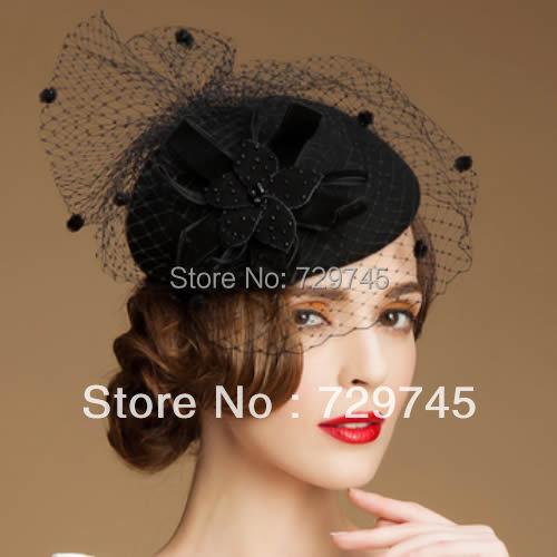 9f4db898d33 Women Vintage Black Wool Netting Winter Fashion Dress Veil Beret Hat Berets  Wedding Veils