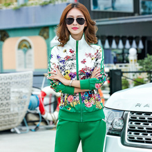 Limited to buy a set of two sets new sportswear womens long-sleeved shirts and pants autumn fashion floral print