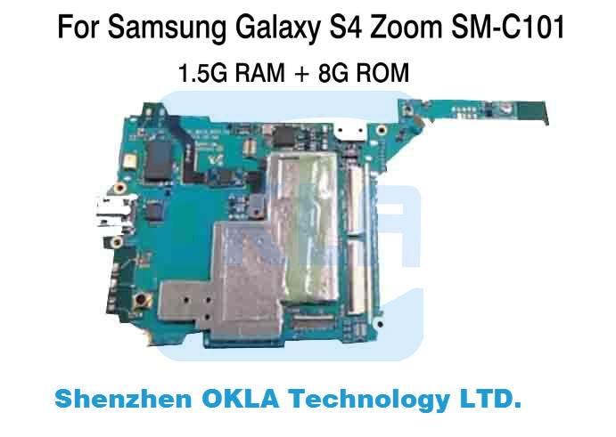 imágenes para 1 unids para samsung galaxy s4 zoom c101 sm-c101 wcdma 8 gb placa base placa lógica placa base de reemplazo de teléfono original