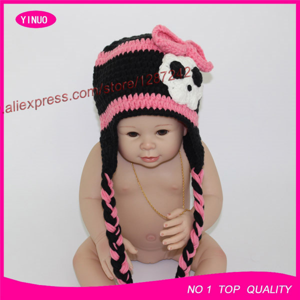 Free Shipping Pink And Black Fancy Flower Baby Crochet Beanie Hat
