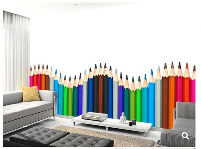 Custom kinderen behang, Gekleurde Potloden, 3D cartoon ...